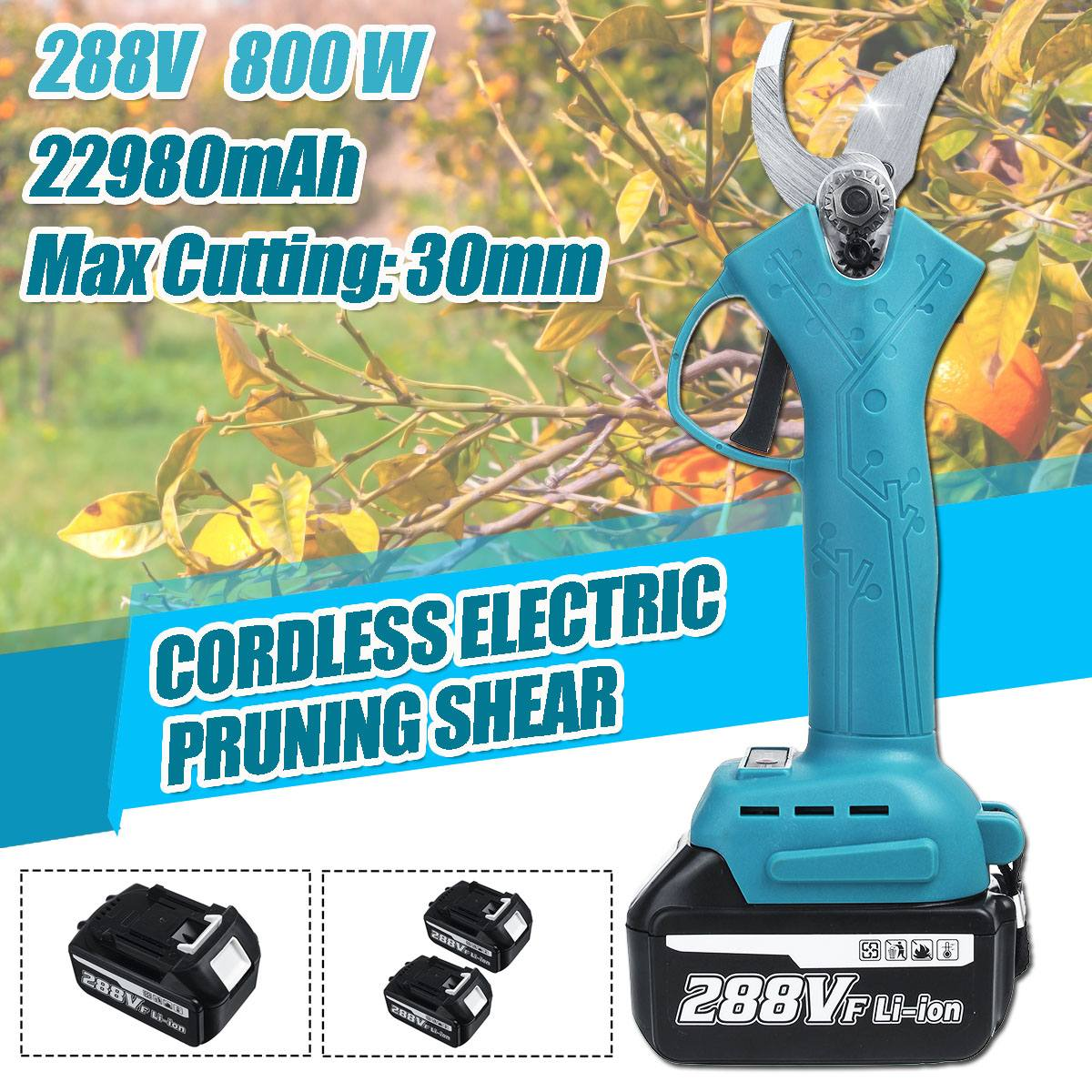 288V Cordless Pruner Lithium-ion Pruning Shear Efficient Fruit Tree Bonsai Pruning Electric Tree Branches Cutter Landscaping