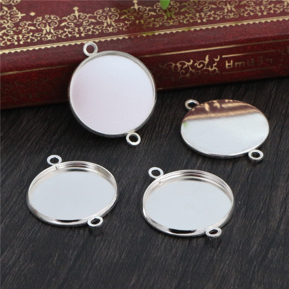 20pcs 20mm Inner Size Stainless Iron Material Bright Silver Plated Simple Style Cabochon Base Cameo Setting Pendant Tray (S2-23)