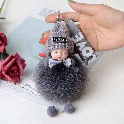 High Quality Cute Fluffy Sleeping Baby Doll Keychain Pompon Real Fox Fur Ball Key Chain Car Keyring Women Key Bag Pendant Charm(China)