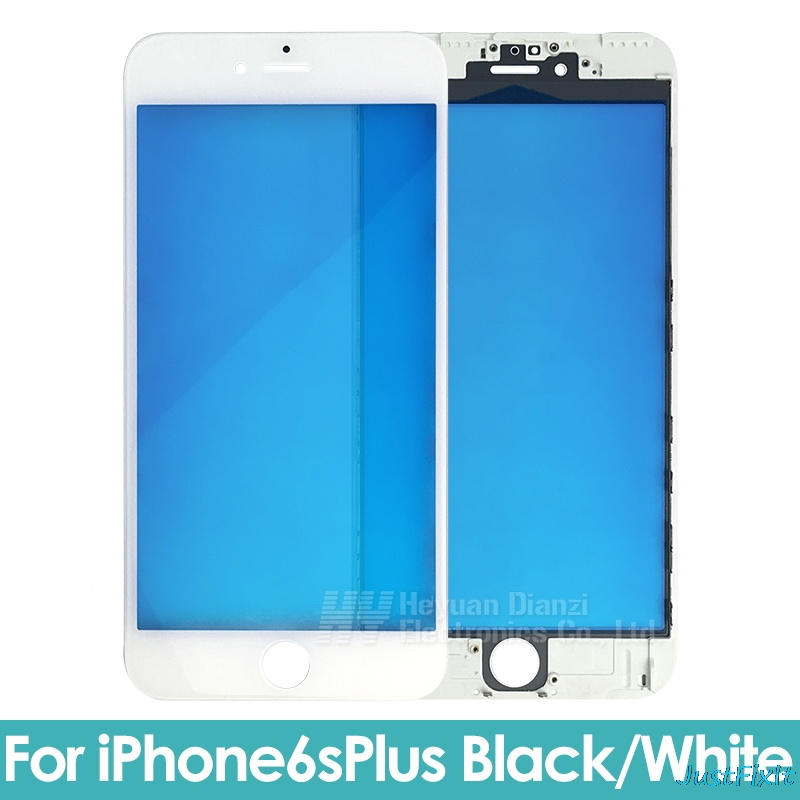 Replacement For iPhone 6/6s 6p/ 6sp/7/7p Black White Replacement LCD Front Touch Screen Glass Outer Lens with frame image