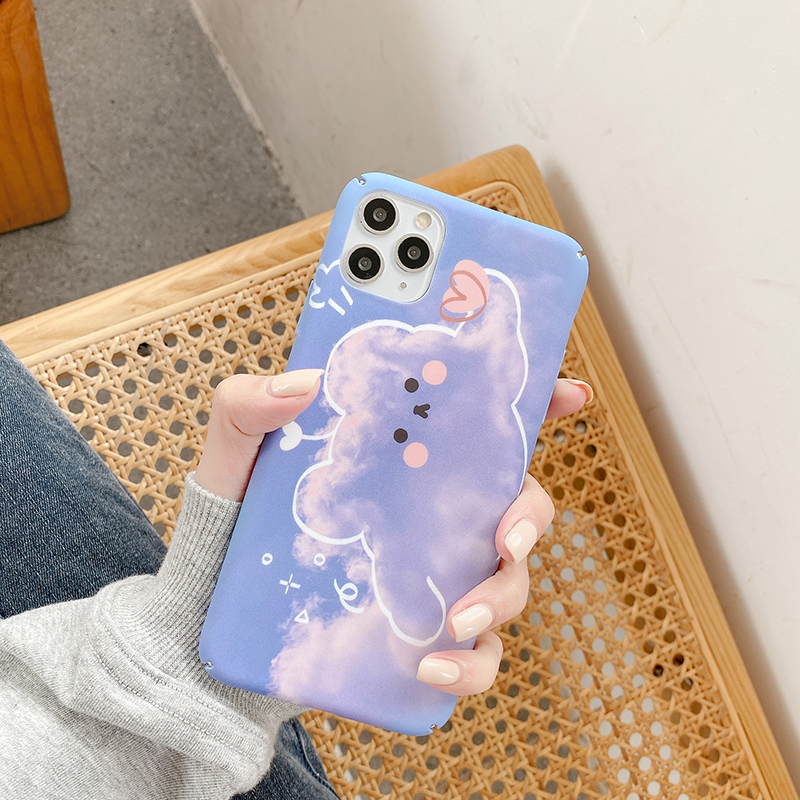 Hard PC Phone Cases For XIaomi 6 6X 8 Lite 9 SE Cute Clouds bear matte cover For Redmi Note7 Note8Pro k30 K20 Pro back Cases image