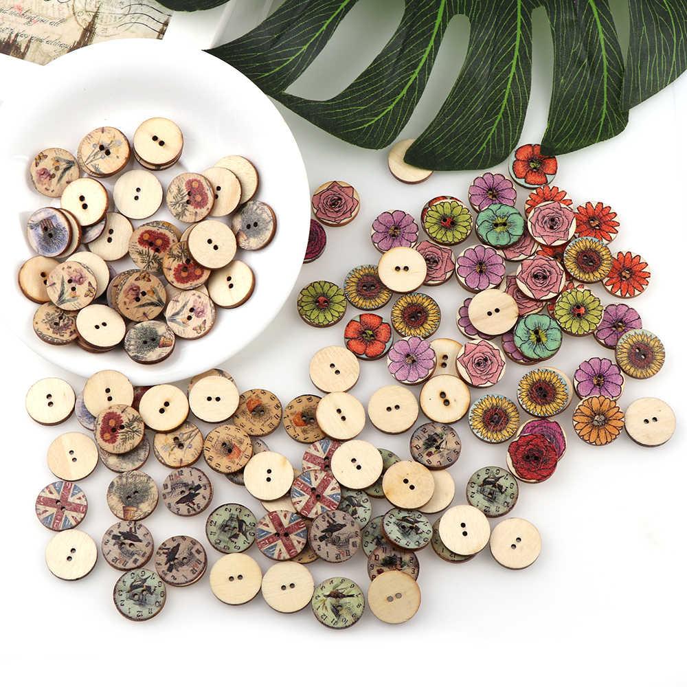 50pc mieszane Vintage kolorowe kwiaty drewniane guziki okrągłe spiralne guziki Scrapbooking 2 otwory akcesoria do szycia dla dziecka