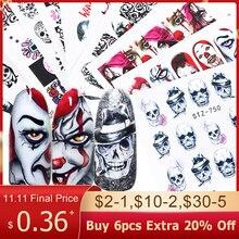 1Pcs Nail Art Stickers Water Transfer Adhesive Decals Halloween Watermerk Nail Art Decoratie Manicure Tattoo Tips BESTZ731 755
