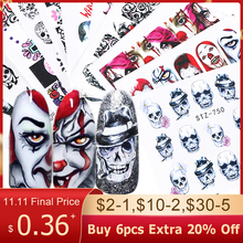 1pcs Nail Art Stickers Water Transfer Adhesive Decals Halloween Watermark Nail Art Decoration Manicure Tattoo Tips BESTZ731 755