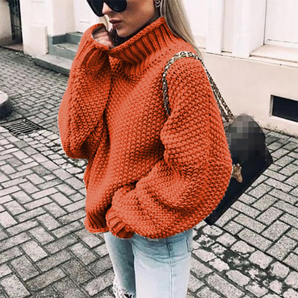 Womens Turtleneck Off The Shoulder Sweater Loose Casual Knitted Long Sleeve Pullover Popular Soft Handfeel Loose Female Sweater