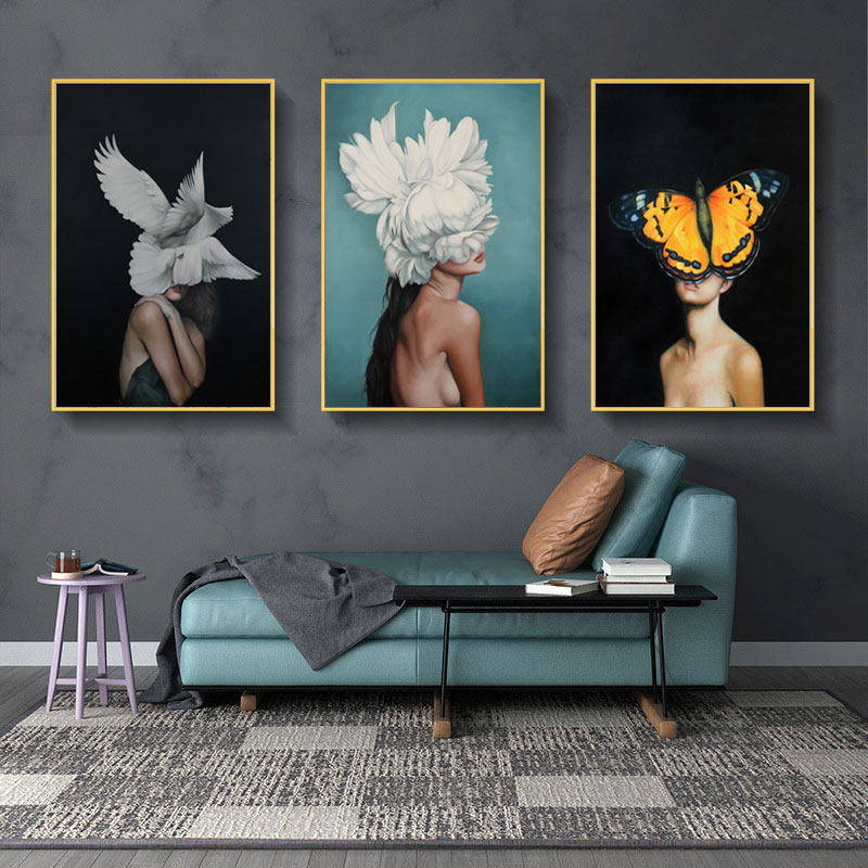 H624ed2fa34f84d39a13545855dadc531a Modern Nordic Black And White Canvas Painting Art Print Wall Poster Abstract Girl Wall Pictures Wall Art for Bedroom Living Room