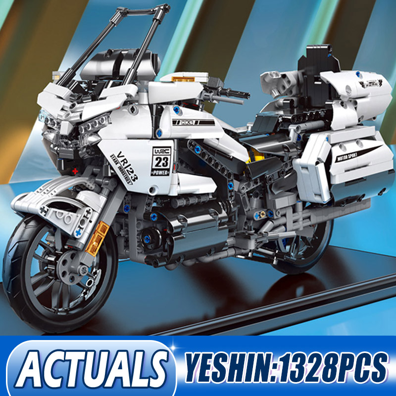 MOULD KING 23001 High-Tech Car The Gold Wing GL1800 And H2R Motorcycle Set Building Blocks Bricks Kids Toys Christmas Gifts
