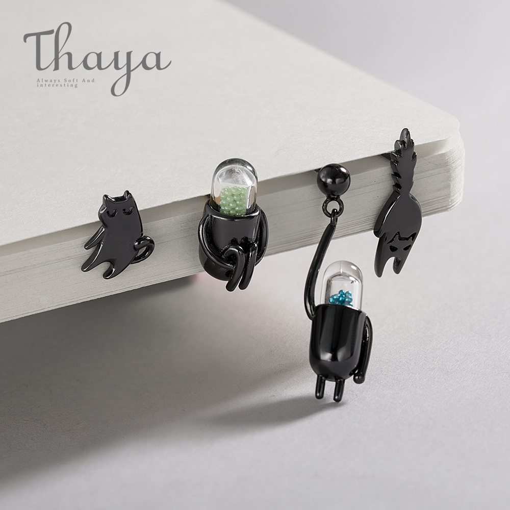 Thaya Funny Cat & Pill 925 Sterling Silver Stud Cartoon Animal Jewelry Earring For Women Black-plated Pet Cute Cat Unique