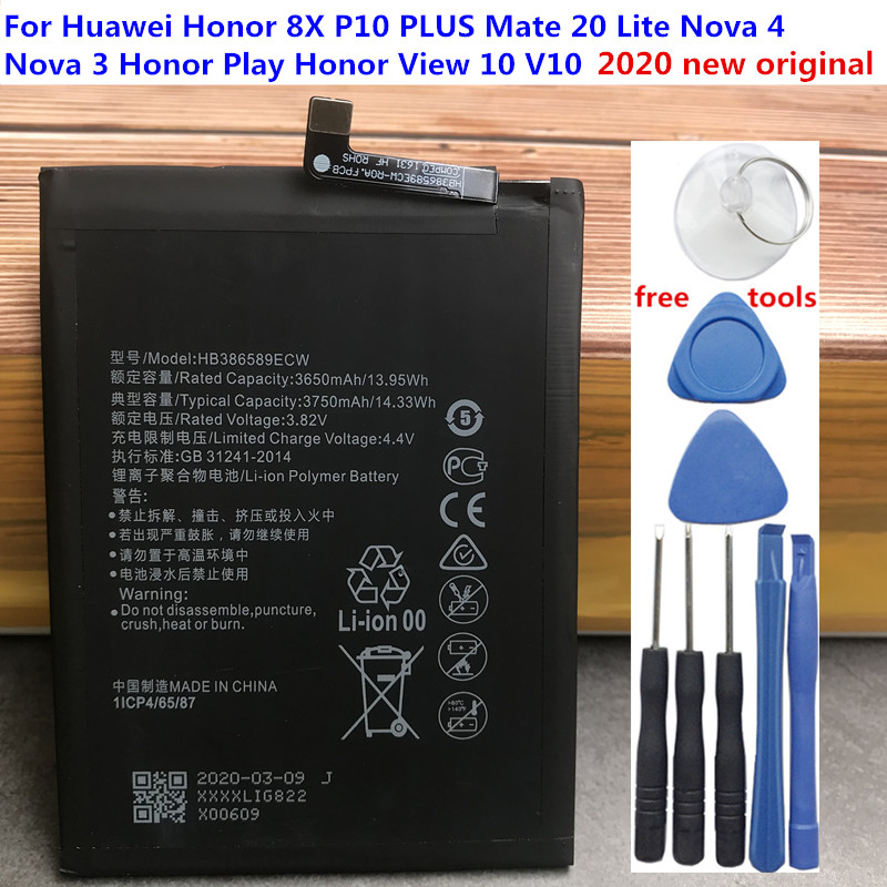 Аккумулятор HB386589ECW для Huawei Honor Play, 3750 мА · ч, оригинальный, новый, мА · ч, батарея для Huawei Honor Play, аккумулятор для COR-L29 с инструментами, 2020