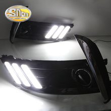 цена на For Toyota Corolla Altis ZD DNY BAX YD BJST 2017 2018 LED Daytime Running Light Fog Lamp Cover DRL With Yellow Turn Signal Relay