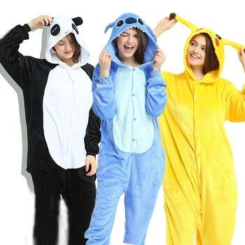 Novo animal unicórnio pijamas adultos inverno pijamas kigurumi ponto panda pikachu pijamas feminino macacão anime trajes