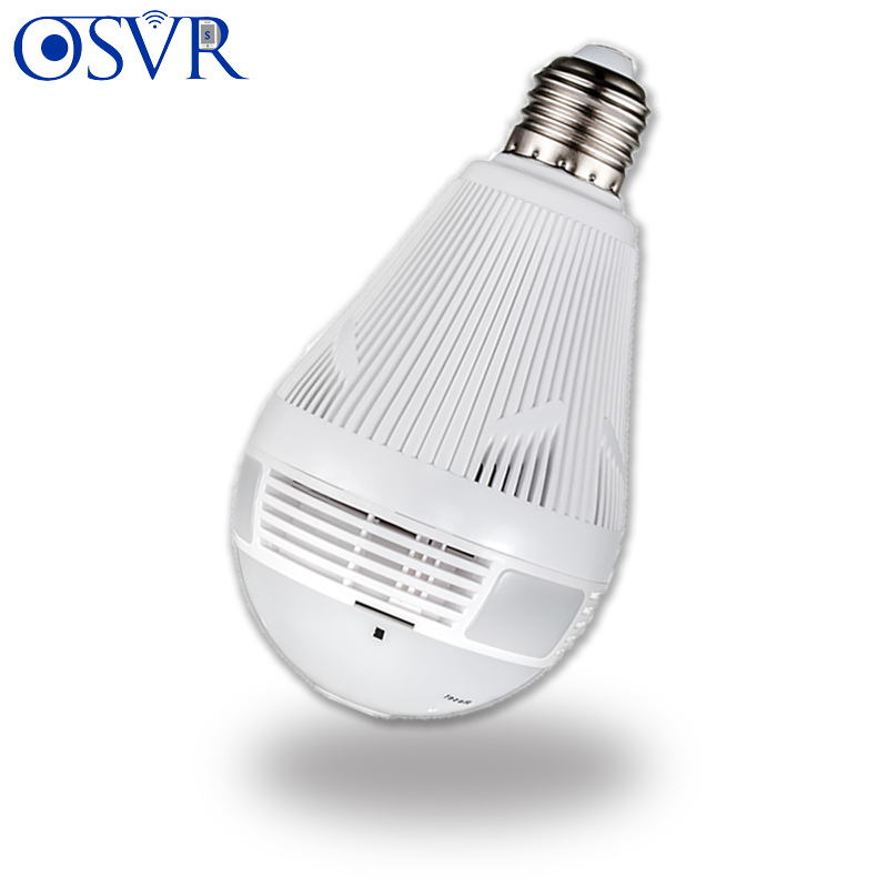 360 Degree LED Light Wireless Home Security Security WiFi CCTV Fisheye Bulb Lamp Two Ways Audio Surveillance IP Camera With WiFi