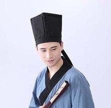 Erkekler Hanfu şapka çin geleneksel antik bilgin siyah şapka Headdress Vintage bağlantı parçaları Confucian havlu Cosplay şapka erkekler için siyah
