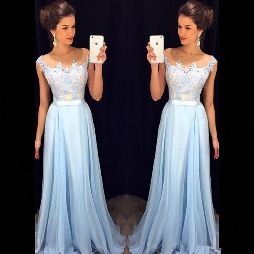 2019 Elegant Light Sky Blue Prom Dresses Sheer Neck Cap Sleeves Appliqued Chiffon Floor Length Formal Evening Gown Prom Dress