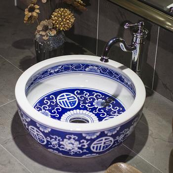 Niebieski biały chiński europa Vintage Style Art umywalka blat ceramiczny umywalka umywalki łazienkowe umywalki łazienkowe naczynia miski tanie i dobre opinie Pojedynczy otwór Owalne CN (pochodzenie) Zlewozmywaki blatowe Zlewy na szampon Rozpylanie emalii as show picture porcelain