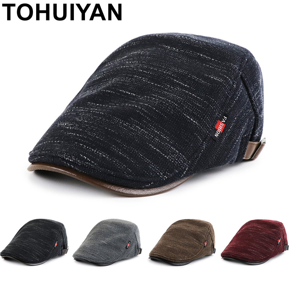 TOHUIYAN Classic Knitted Newsboy Hats For Men Fall Winter Cabbie Caps Male Gorras Planas Beret Hats Outdoor Warm Flat Golf Caps