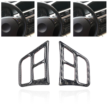 2PCS Carbon Fiber Car Sticker Steering Wheel Modified Button Frame Stickers For BMW Old Three 3 Series E902 E90 image
