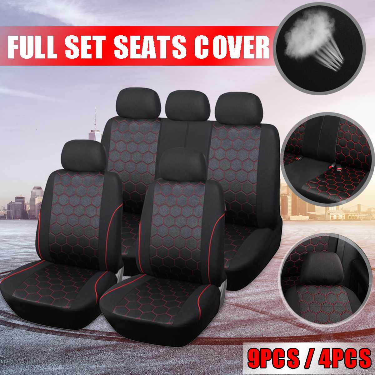 9PCS Waterproof Car Seat Cover Universal Fit Most Vehicles Seats Interior Accessories Seat Covers Cushion Car Seat Protector