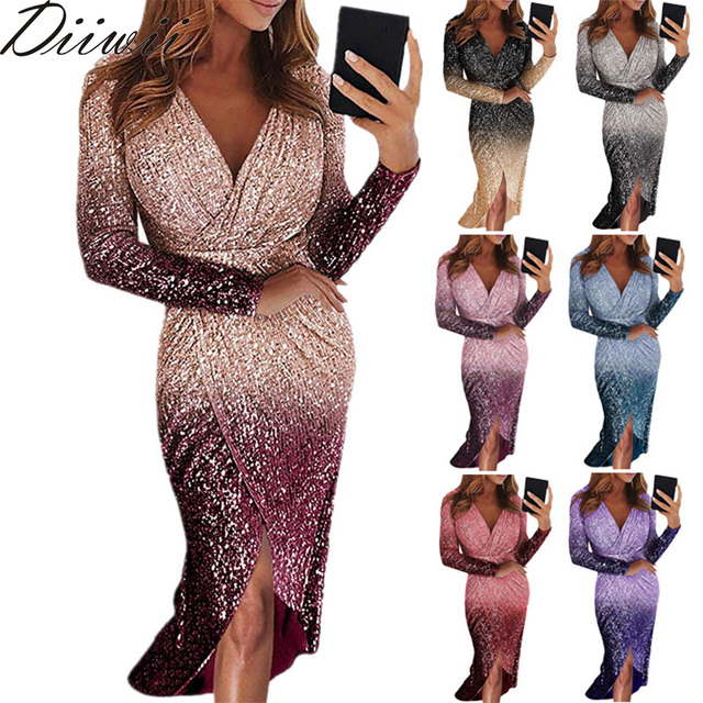 Diiwii Women Sexy Irregular Evening With Long Sleeves And Color-Changing Sequins Fishtail Dress