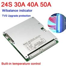 24s 86v 72v 50a 40a 30a 18650 bms placa de proteção de bateria de lítio li ion lifepo4 de alta potência 20s 22s 16s w led indicador de equilíbrio