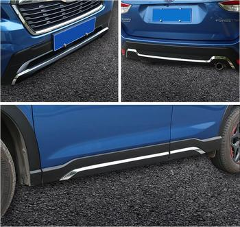 STAINLESS STEEL Front And Rear Bumper Lip Side Door Body Protector Molding Cover Trim For SUBARU Forester 2019 2020 2021 Year