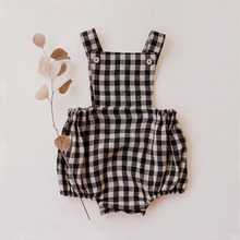 Baby Outfits Jumpsuit Clothing Linen Newborn Infant Cotton Plaid Summer for 0-3T Girls