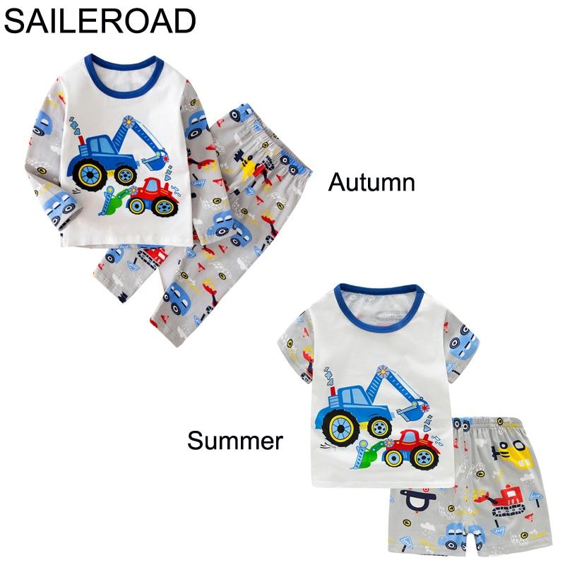 TUONXYE Children Excavator Pajamas For Boys 2020 Autumn Cotton Pyjamas Set Kids Pijama Short Sleeve Home Wear Sleepwear Suits 1