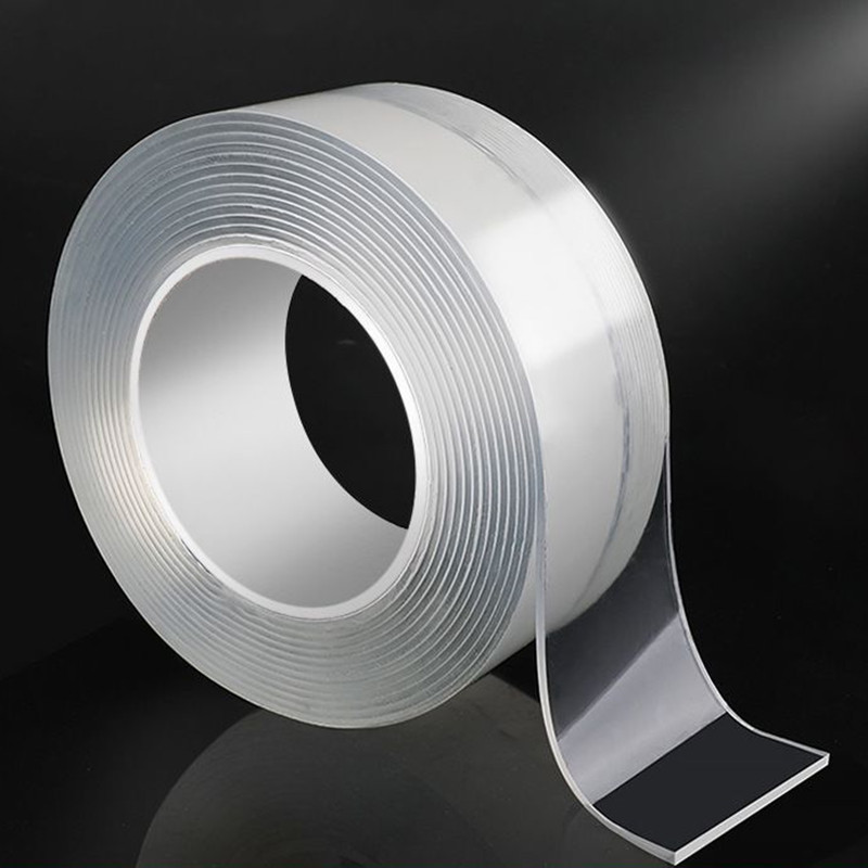 5M*3cm*1mm Transparent Double-Sided Adhesive Nano Strong sticky Tape Removable Washable Nano Magic Tape two sided tape gekkotape