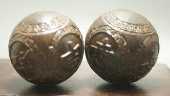 Chino Natural fragante madera cuidado de la salud masaje balonmano texto tallado...