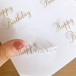 60pcs/lot Transparent round gilding happy birthday sealer sticker Student Diary Label Cartoon Diy Decoration Scrapbook