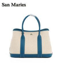San Maries – sacs à main de styliste en toile et cuir pour femmes, sacoche de bonne qualité, de Style de marque célèbre, nouvelle collection, sac à main de luxe, fourre-tout 2 tailles
