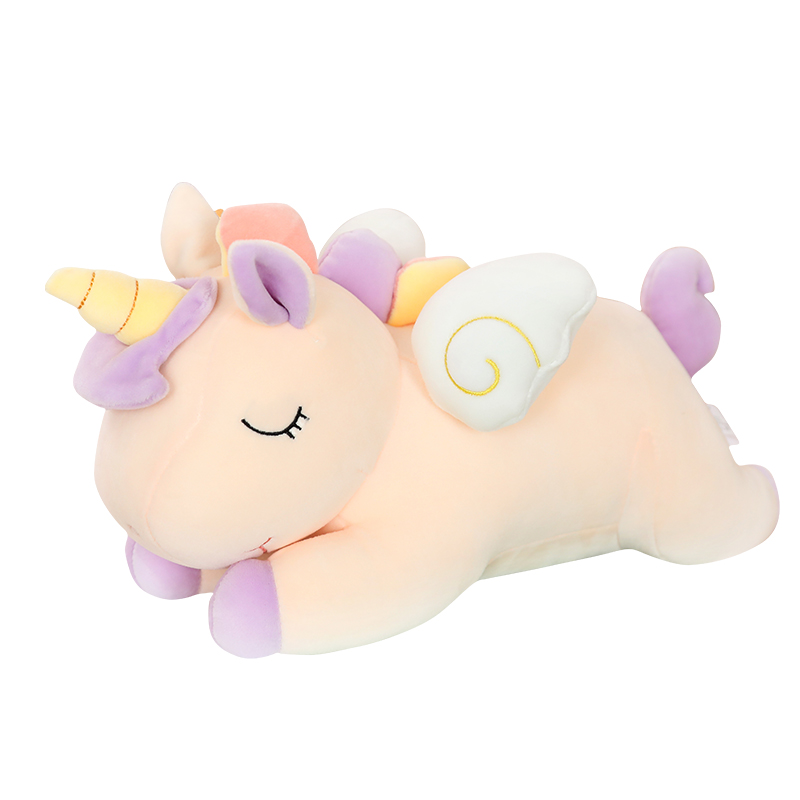 Peluches de unicornio Super suave y Adorable para niños y niñas, peluches de animales, arcoíris, alas voladoras, unicornio gordo, almohada de peluche