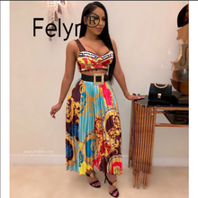 Felyn 2020 nova chegada sexy 2 peças a line vestido chique impressão cinta de espaguete celebridade midi vestido vestidos