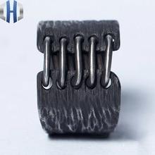 24mm Original Design Handmade Silver Woodcut Texture Ring Simple Index Finger