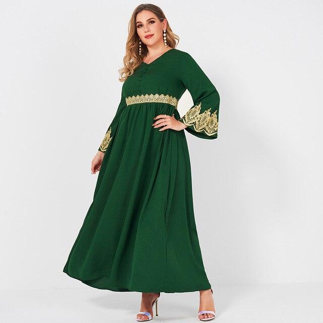 Spring  Autumn New Women's Fashion V-neck Lace Stitching Long Banquet Elegant Plus Size Slim Long-sleeved Dress 5