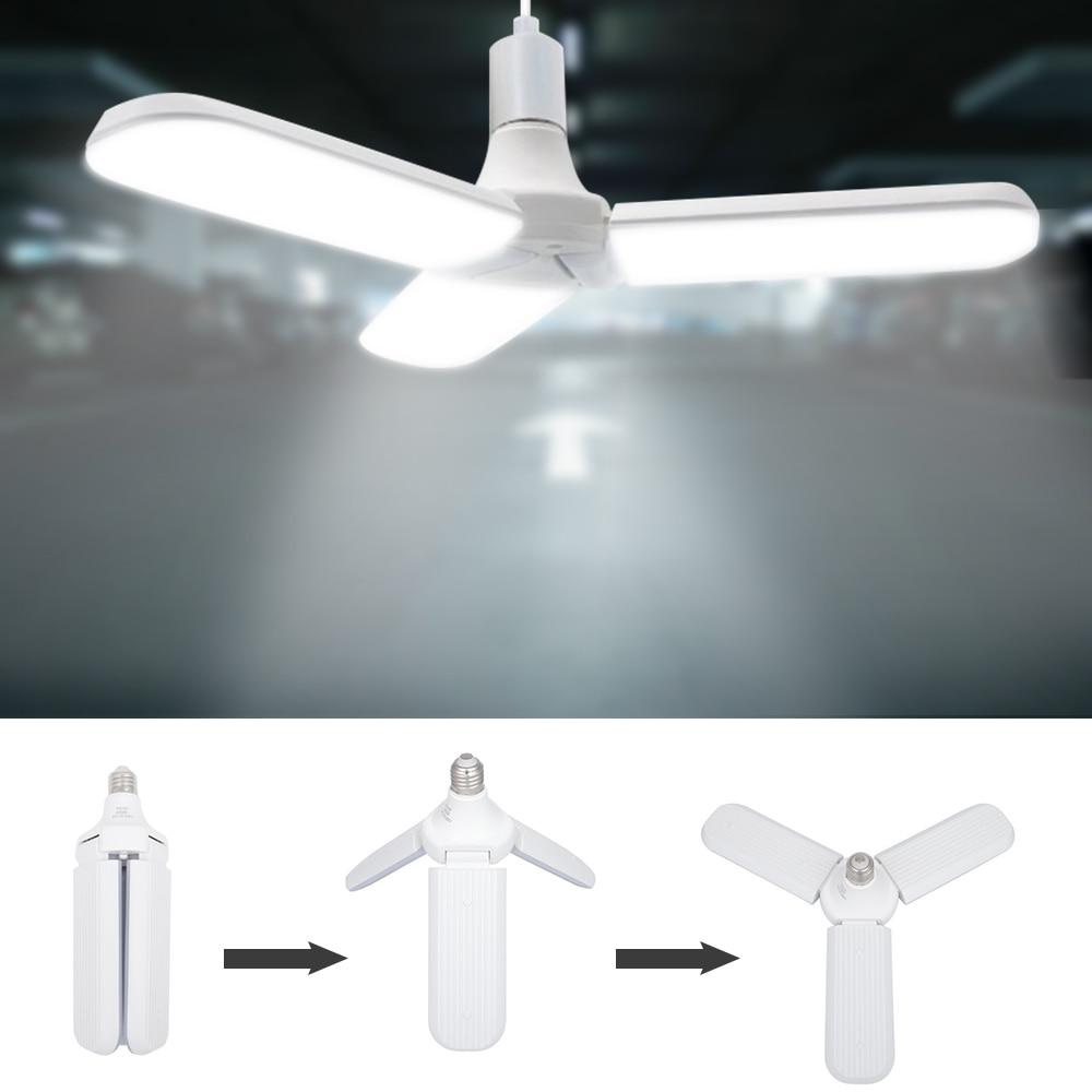 Super Bright Led Deformable Fan Garage Light AC 60W E27 85-265V 5600LM Ceiling Light For Garage/Attic/ Basement/Home LED Lamp