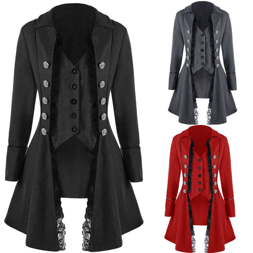 Gothic Coat Jacket Steampunk Victorian Vintage Long Retro Suit Button-Breasted title=