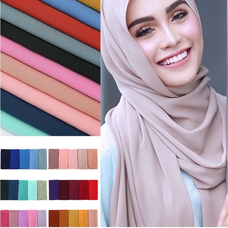 60 Colors Women Plain Bubble Chiffon Scarf Hijab Wrap Shawls Headband Muslim Hijabs Scarves Malaysia Hijab Wrap  Shawls Headband