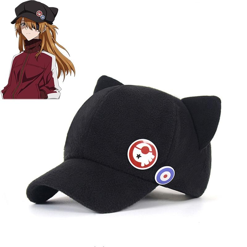 Anime Evangelion Asuka Langley Soryu Cat Ear Hat EVA Cosplay Cap With Badges(China)