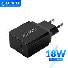 Зарядное устройство ORICO сетевое портативное с USB Type C и поддержкой быстрой зарядки, 18 Вт