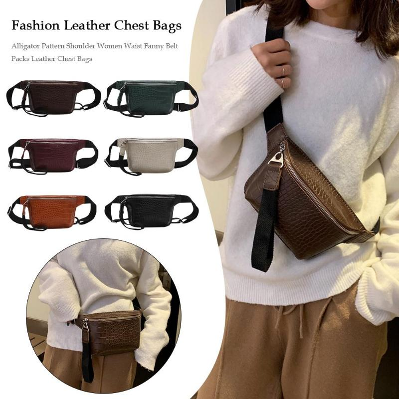 Alligator Pattern Shoulder Messenger Handbags Women Waist Fanny Belt Packs PU Leather Crossbody Chest Bags Phone Money Pouch
