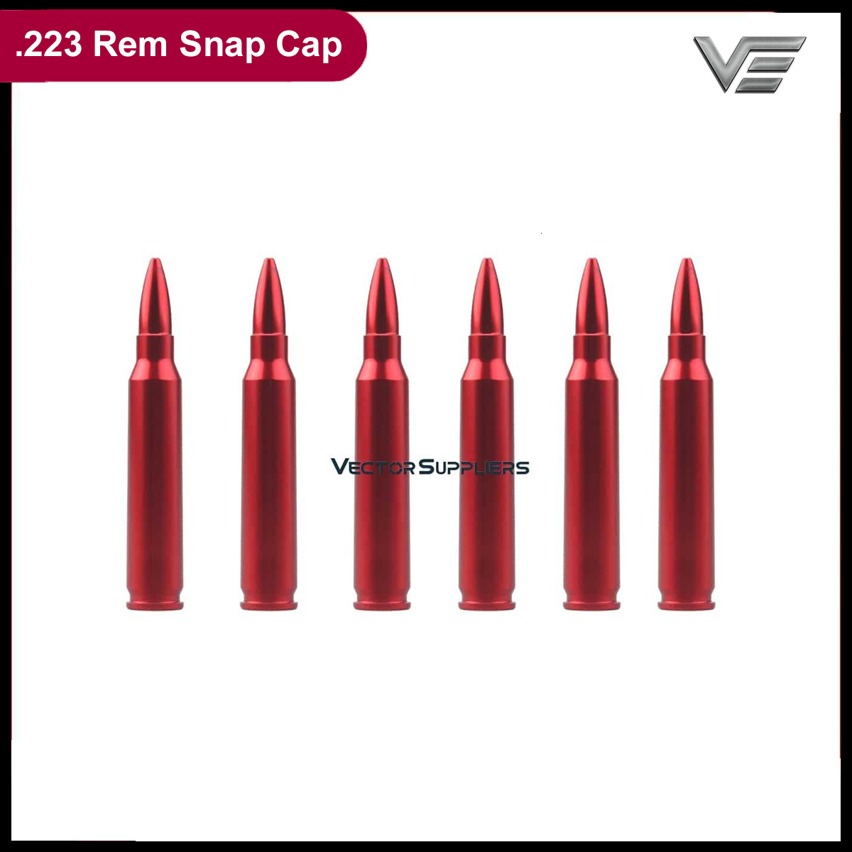 Vector Optics .223 Rem Precision Dry Fires Snap Caps For Safety Training Patrice Dummy Rounds Aluminum (6 Pack) W/ Sling