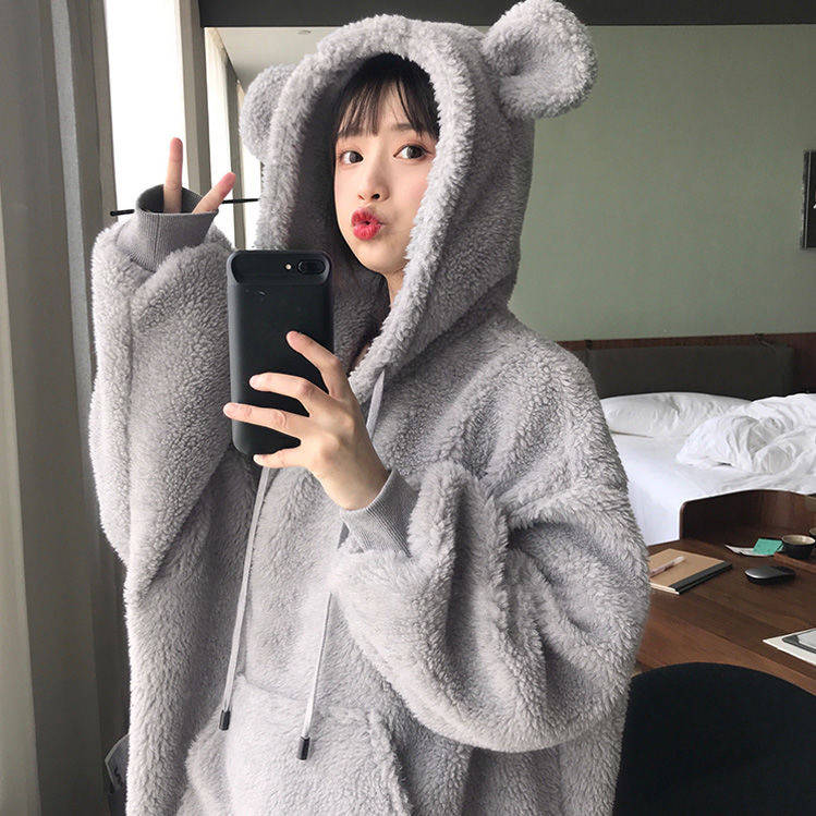 Kawaii Women Hoodies Pullover Girl Winter Loose Fluffy Bear Ear Hoodie Hooded Jacket Warm Outerwear Coat Cute Sweatshirt Girls Casual Sweatshirt Women Casual Long Sleeve Pouch Pocket Pullover Hoodie Autumn Outwear Coat