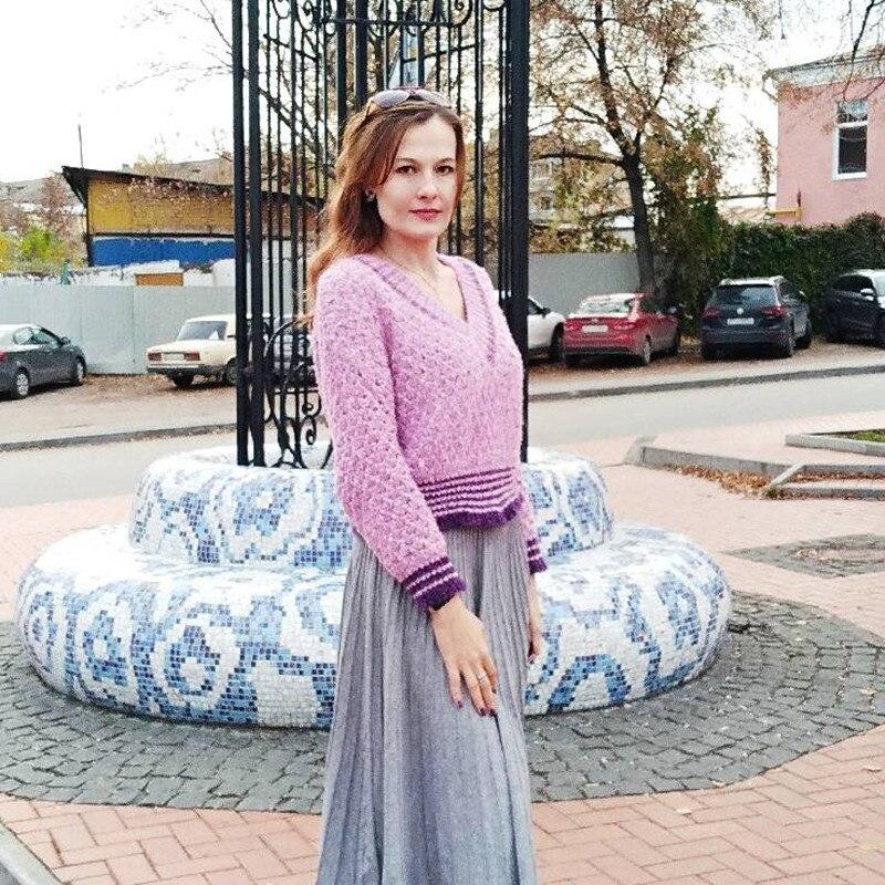 Faux Mink Crop Top Sweater For Women 2019 Korean Fashion V Neck Lazy Oaf Purple Sweater Loose Female Knit Pullover Knitwear