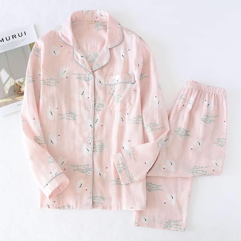 Spring/summer Japanese Women's Pajamas 2 Pieces Cotton Long Sleeve Pajamas Fresh Willow Leaf Pattern Cotton Women's Home Wear