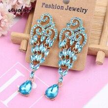 цена на Veyofun Crystal Hollow out Dangle Earrings for Women  Luxury Drop Earrings Vintage Jewelry