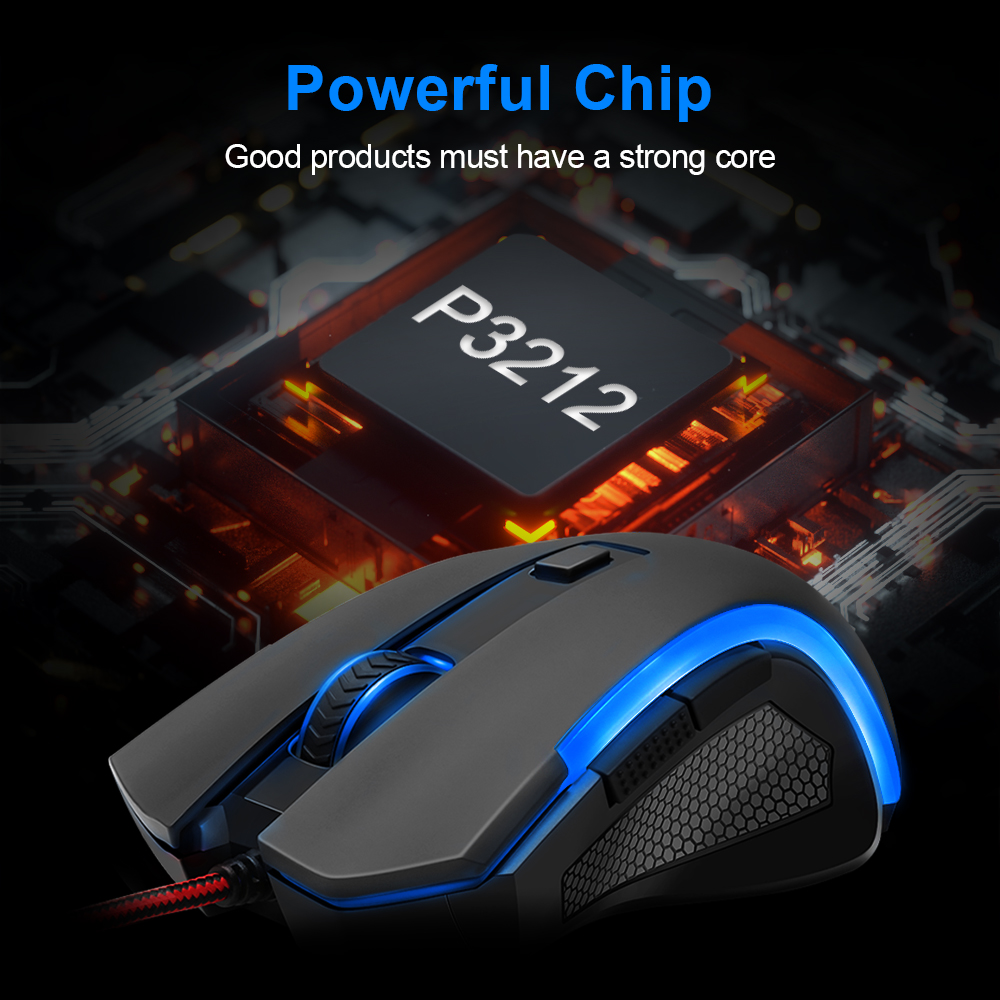 Image 4 - Redragon GRIFFIN M607 USB Wired Gaming Computer Mouse 7200 DPI 6 buttons 7 color backlit RGB Programmable ergonomic For PC Gamer-in Mice from Computer & Office