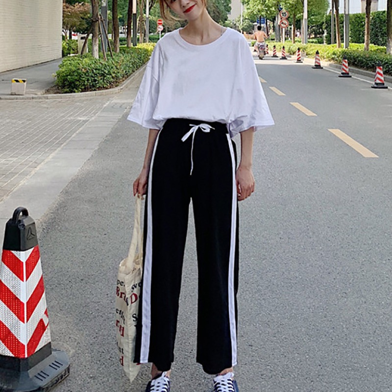 Two piece Sets Women Long Split T shirt Side Striped Wide Leg Pants Suits Casual Female O Neck Tops in Women 39 s Sets from Women 39 s Clothing