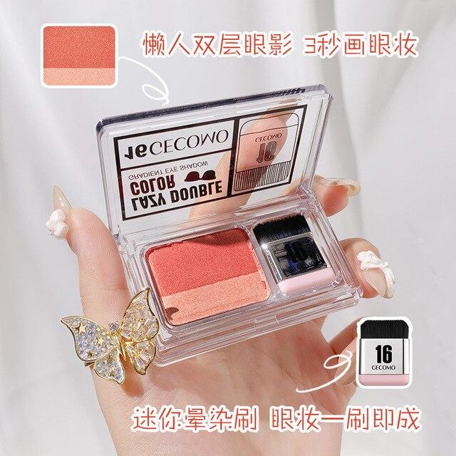 Double Color Gradient Lazy Eye Shadow Makeup Palette Glitter Waterproof Glitter Eyeshadow 2