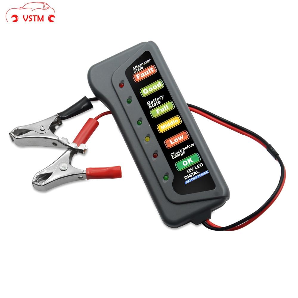 12V Car Battery & Alternator Tester - Test Battery Condition & Alternator Charging (LED indication)